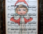 Christmas Girl Art Print on Antique Music Book Page