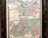 City of New Orleans and Louisville Map Print of an 1855 Map on Parchment Paper