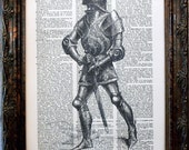 Knight in Armor Art Print from 1874 on Dictionary Book Page