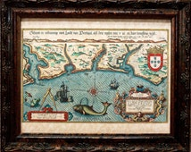 Portugal Map Print of a 1583 Map on Parchment Paper