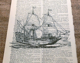 15th Century Carrack Ship Art Print on Vintage Dictionary Book Page