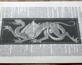 Dragon Art Print on Dictionary Book Page