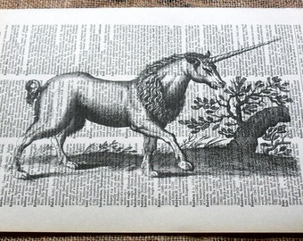 Vintage Unicorn Art Print on Vintage Dictionary Book Page
