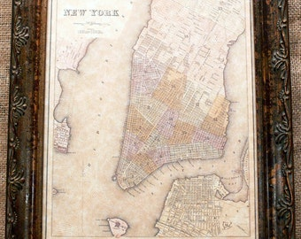 City of New York Map Print of an 1839 Map on Parchment Paper