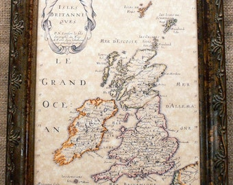 British Isles Map Print of a 1700 Map on Parchment Paper