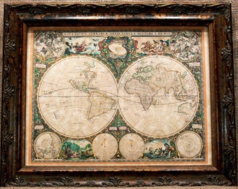 Double Hemisphere World Map Print of a 1660 Map on Parchment Paper