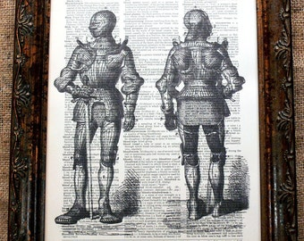 Suit of Armor Art Print on Dictionary Book Page