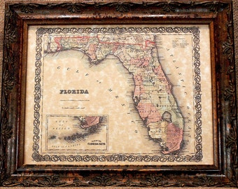 Florida State Map Print of an 1855 Map on Parchment Paper