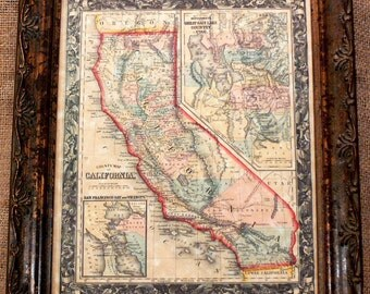 California State Map Print of an 1860 Map on Parchment Paper