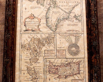Greenland-Iceland-Faroe Map Print of a 1747 Map on Parchment Paper