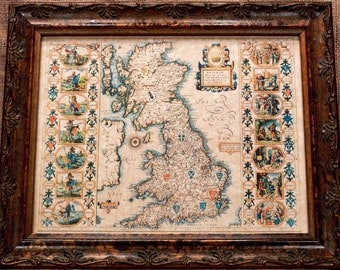 Anglo-Saxon Heptarchy Map of Britain Map Print of a 1610 Map on Parchment Paper