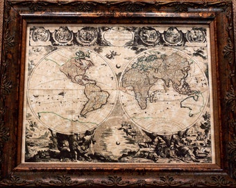 Double Hemisphere World Map Print of a 1708 Map on Parchment Paper