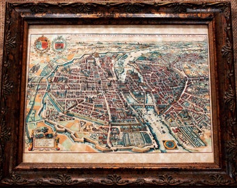 City of Paris Aerial View Map Print of a 1615 Map on Parchment Paper