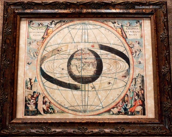 Chart of the Zodiac and Solar System with World at Center Map Print of a 1660 Map on Parchment Paper
