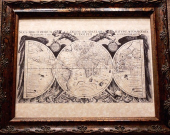 World Map Print of a 1630 Map on Parchment Paper