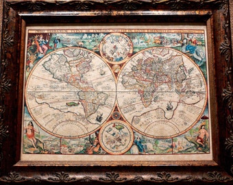 Double Hemisphere World Map Print of a 1594 Map on Parchment Paper