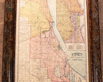 City of Chicago Railway Terminal Map Print of an 1897 Map on Parchment Paper