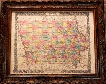 Iowa State Map Print of an 1855 Map on Parchment Paper