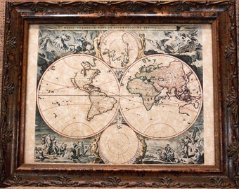 Double Hemisphere World Map Print of a 1690 Map on Parchment Paper