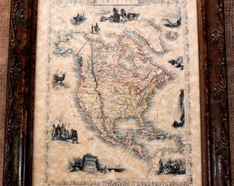 North America Map Etsy - Parchment paper map of us