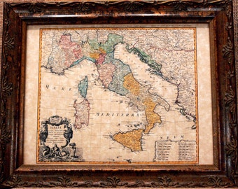 Italy Map Print of a 1742 Map on Parchment Paper