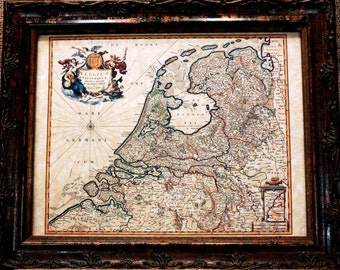 Belgium Map Print of a 1680 Map on Parchment Paper