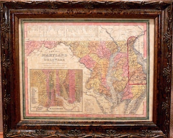 Maryland and Delaware State Map Print of an 1846 Map on Parchment Paper