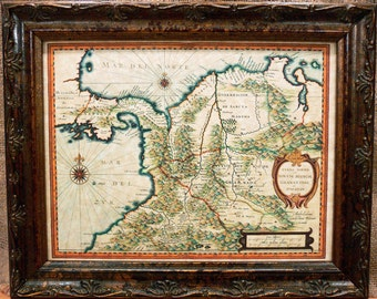 Colombia-Panama-Costa Rica Map Print of a 1630 Map on Parchment Paper