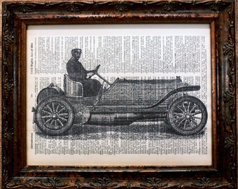Mercedes Simplex Race Car Art Print on Dictionary Book Page