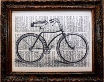 Antique Bike Art Print on Dictionary Book Page