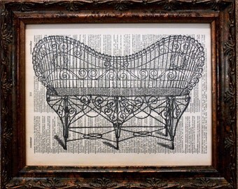 Wrought Iron Bench Art Print on Dictionary Book Page