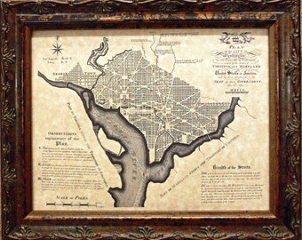 City of Washington DC Map Print of a 1792 Map on Parchment Paper