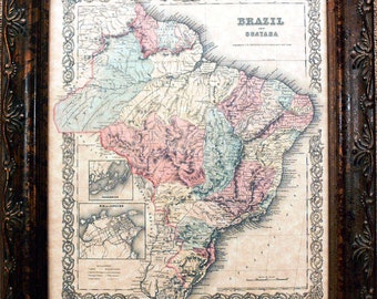 Brazil and Guayana Map Print of an 1855 Map on Parchment Paper