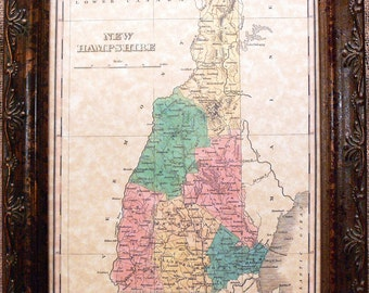 New Hampshire State Map Print of an 1827 Map on Parchment Paper