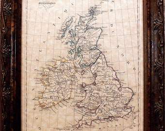 British Isles Map Print of an 1843 Map on Parchment Paper