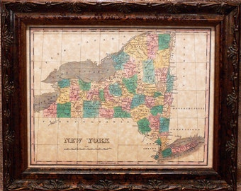 New York State Map Print of an 1827 Map on Parchment Paper