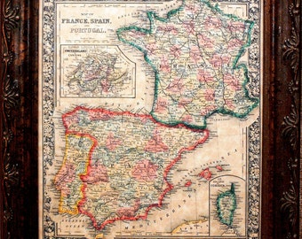 France-Spain-Portugal Map Print of an 1864 Map on Parchment Paper