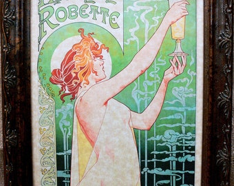 Absinthe Robette Ad from 1896 Art Print on Parchment Paper