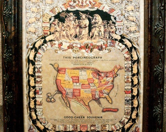 U.S. Map Shaped as a Pig--Porcineograph Good Cheer Souvenir Map Print of an 1875 Map on Parchment Paper
