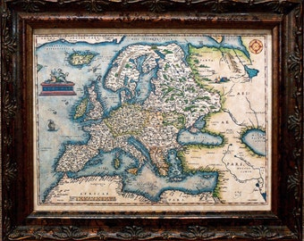 Europe Map Print of a 1572 Map on Parchment Paper