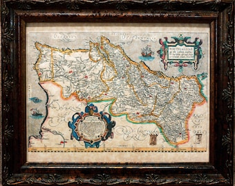 Portugal Map Print of a 1579 Map on Parchment Paper