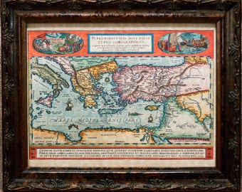 Eastern Mediterranean Map Print of a 1598 Map on Parchment Paper