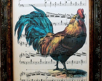 Rooster Art Print from 1890's on Antique Music Book Page