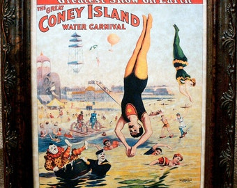Great Coney Island Water Carnival Circus Poster from 1898 Art Print on Parchment Paper