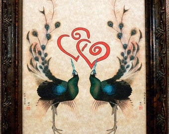 A Page in Time Design Japanese Peacock Love Art Print on Parchment Paper