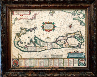 Island of Bermuda Map Print of a 1658 Map on Parchment Paper