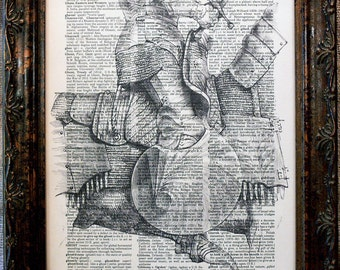 Knight on Horse Art Print from 1874 on Dictionary Book Page