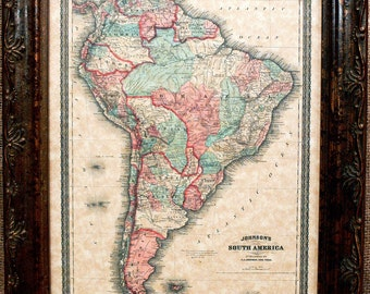 South America Map Print of an 1870 Map on Parchment Paper
