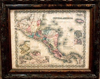 Central America Map Print of an 1855 Map on Parchment Paper