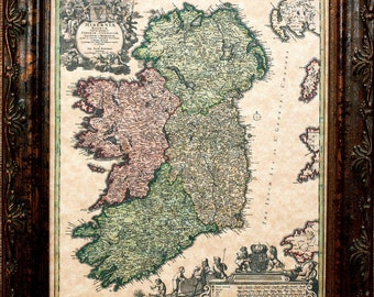 Ireland Map Print of a 1716 Map on Parchment Paper